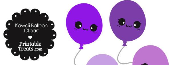 Kawaii Balloon Clipart in Shades of Purple