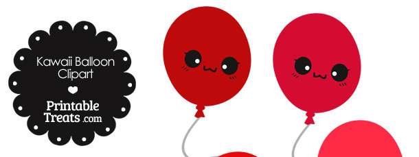 Kawaii Balloon Clipart in Shades of Red
