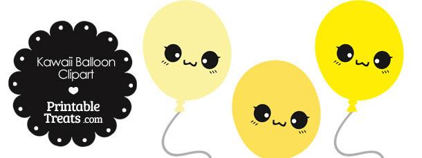 Kawaii Balloon Clipart in Shades of Yellow