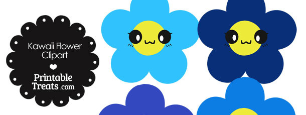 Kawaii Flower Clipart in Shades of Blue
