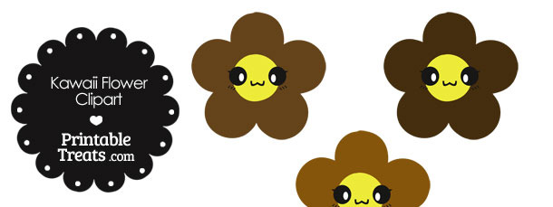 Kawaii Flower Clipart in Shades of Brown