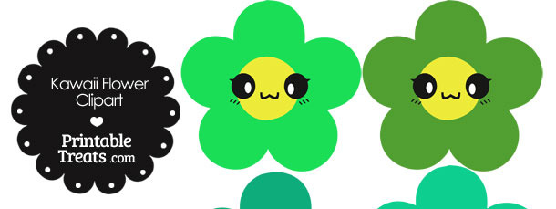 Kawaii Flower Clipart in Shades of Green