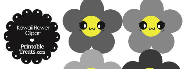 Kawaii Flower Clipart in Shades of Grey