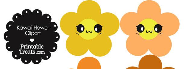 Kawaii Flower Clipart in Shades of Orange