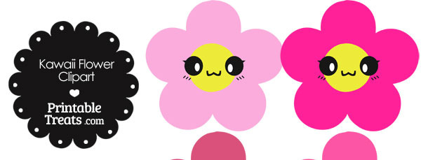 Kawaii Flower Clipart in Shades of Pink