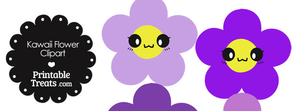 Kawaii Flower Clipart in Shades of Purple