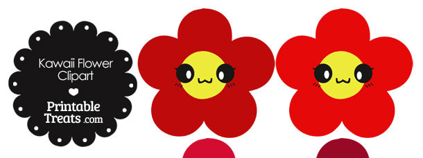 Kawaii Flower Clipart in Shades of Red