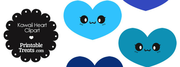 Kawaii Heart Clipart in Shades of Blue