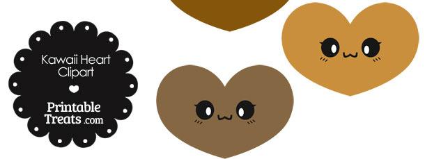 Kawaii Heart Clipart in Shades of Brown