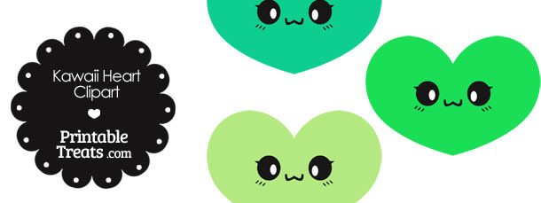 Kawaii Heart Clipart in Shades of Green