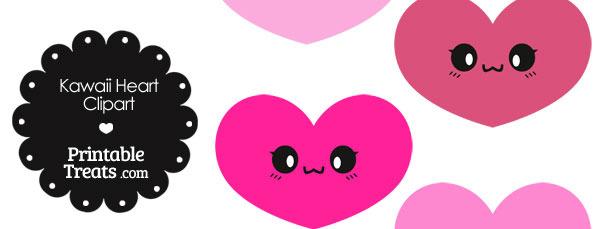 Kawaii Heart Clipart in Shades of Pink