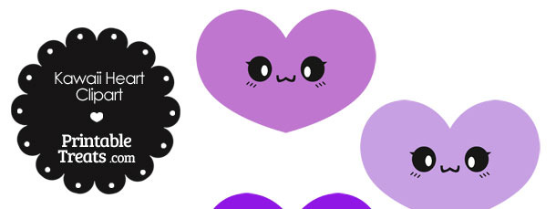 Kawaii Heart Clipart in Shades of Purple