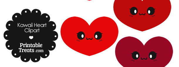 Kawaii Heart Clipart in Shades of Red