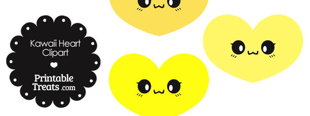 Kawaii Heart Clipart in Shades of Yellow