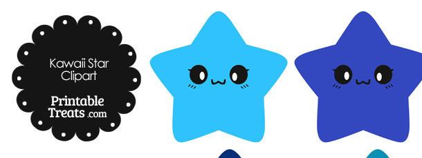 kawaii star clipart in shades of blue
