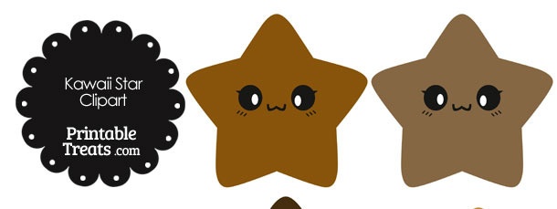 Kawaii Star Clipart in Shades of Brown