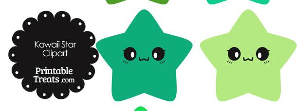 Kawaii Star Clipart in Shades of Green