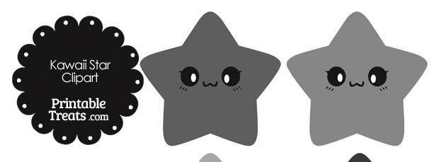 Kawaii Star Clipart in Shades of Grey
