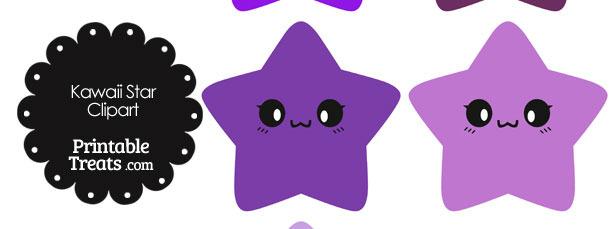 Kawaii Star Clipart in Shades of Purple