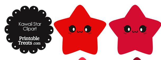 Kawaii Star Clipart in Shades of Red