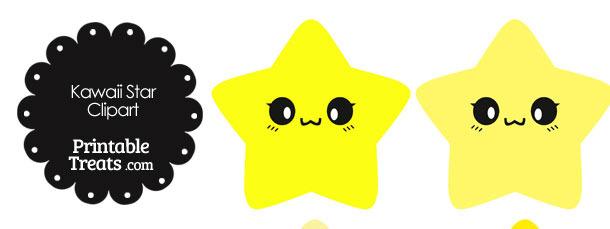 Kawaii Star Clipart in Shades of Yellow