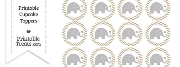 Khaki Chevron Baby Elephant Cupcake Toppers