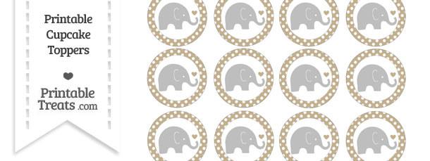 Khaki Polka Dot Baby Elephant Cupcake Toppers