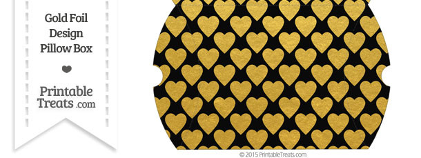 Large Black and Gold Foil Hearts Pillow Box