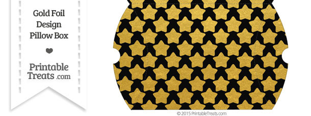 Large Black and Gold Foil Stars Pillow Box