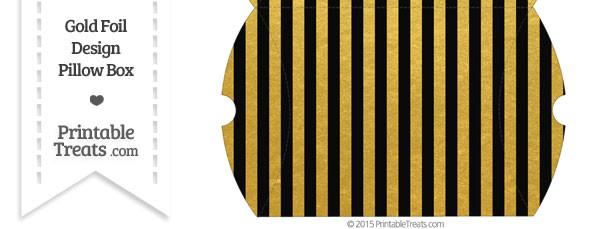 Large Black and Gold Foil Stripes Pillow Box