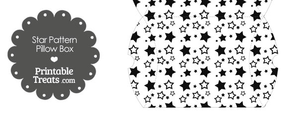Large Black Star Pattern Pillow Box