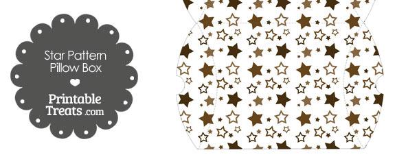 Large Brown Star Pattern Pillow Box