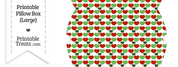 Large Christmas Hearts Pillow Box