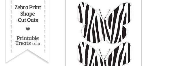 Large Zebra Print Butterfly Cut Out