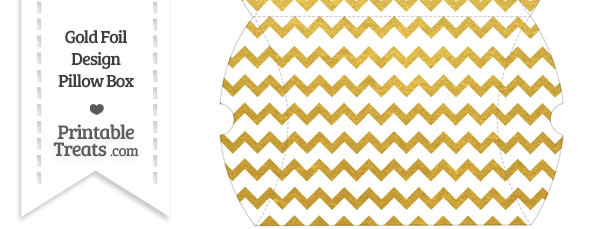 Large Gold Foil Chevron Pillow Box