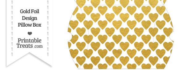 Large Gold Foil Hearts Pillow Box