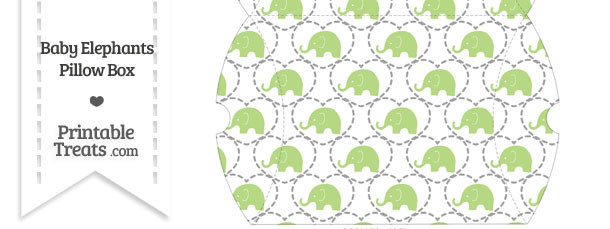 Large Light Green Baby Elephants Pillow Box