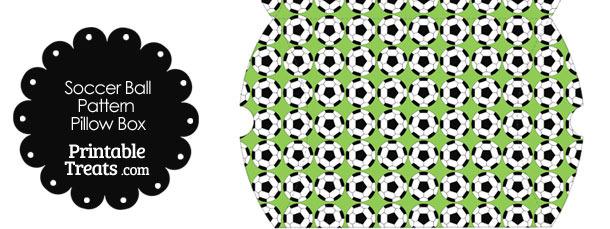 Large Light Green Soccer Ball Pattern Pillow Box