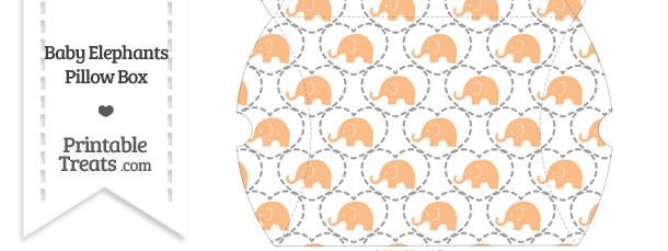 Large Orange Baby Elephants Pillow Box