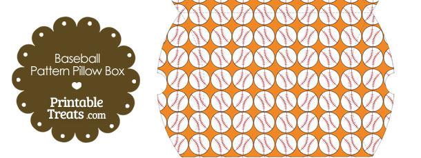Large Orange Baseball Pattern Pillow Box