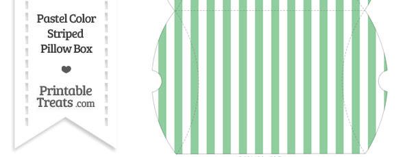 Large Pastel Green Striped Pillow Box