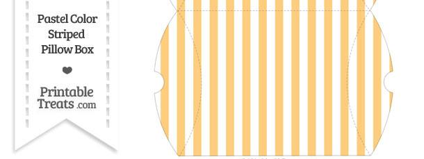 Large Pastel Light Orange Striped Pillow Box