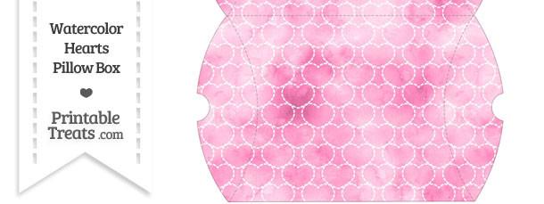 Large Pink Watercolor Hearts Pillow Box