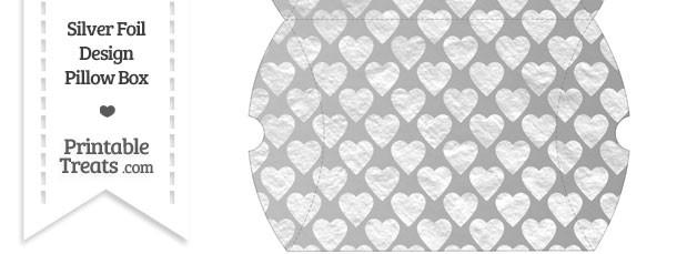Large Silver Foil Hearts Pillow Box