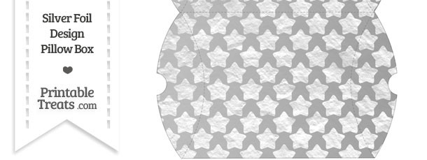 Large Silver Foil Stars Pillow Box