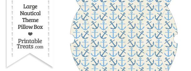 Large Vintage Blue Anchors Pillow Box
