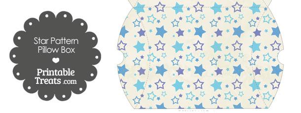 Large Vintage Blue Star Pattern Pillow Box
