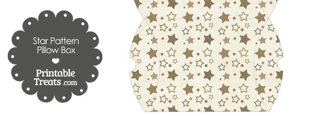 Large Vintage Brown Star Pattern Pillow Box