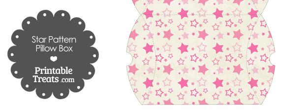 Large Vintage Pink Star Pattern Pillow Box