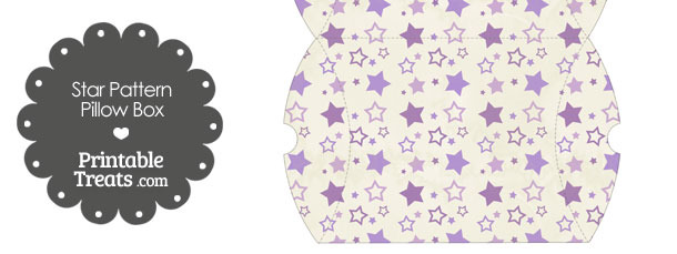 Large Vintage Purple Star Pattern Pillow Box